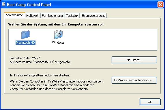 Betriebssystem Start Wahl Boot camp